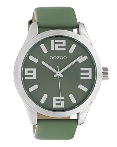 Oozoo Damenuhr mit Lederband Classic Color Line XL 47 MM Pastellgrün C10238