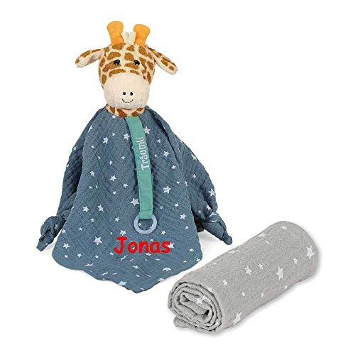 Sterntaler Träumli Geschenkset Schmusetuch Giraffe Greta mit Namen bestickt Schnullerkette Baby Geschenk zur Geburt Schnueffeltuch