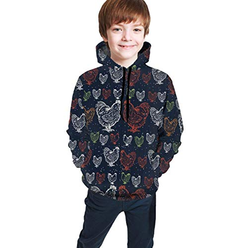 XCNGG Teen Sweater Boy Sweater Girl Sweater Sudadera con Capucha Rooster Color Line Drawing Kids Pullover Hoodie for Boys Girls 3D Novelty Hooded Sweatshirts with Big Pocket