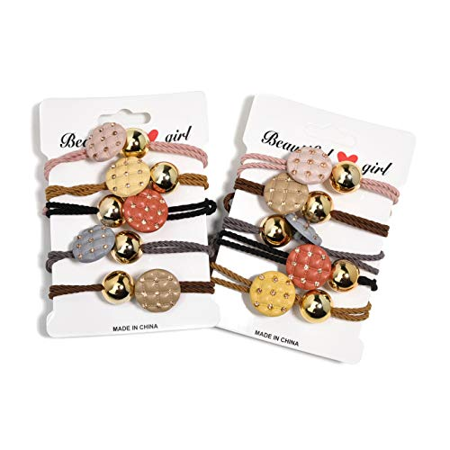 Fashion Candy Hair Tie Hair Band Flower Button Fruit Love Hair Tie Beaded Hair Tie Hair Rope Rope Hair Elastic Bracelet Ponytail Holder Hair Accessories for Women and Girls (10PCS bead)