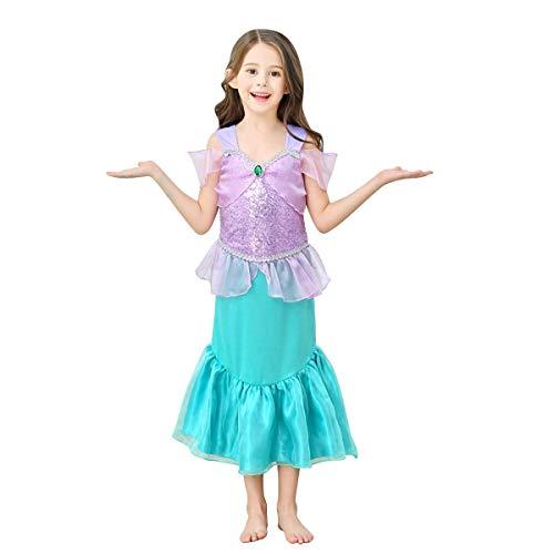 IBAKOM - Vestido de sirena para nias, princesa, disfraz de Halloween o carnaval, con lentejuelas brillantes estilo 4 4-5 Aos