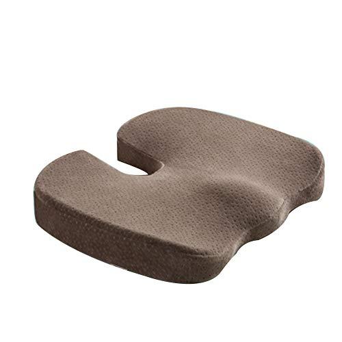 CANDYANA Orthopedische traagschuim zitkussen perfect steunkussen voor bureaustoelen, auto rijden rolstoel zitkussen, bruin