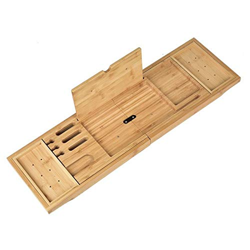 Kuinayouyi Foldable Bamboo Handmade Bath Tray Bathroom Shelves Apply for Pad/Book/Tablet Bathtub Rack Stand Holder