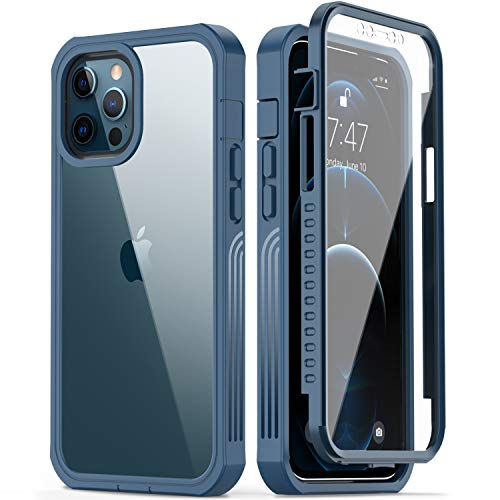 GOODON iPhone 12 Pro Max Case with Built-in Screen Protector,Pass 20 ft. Drop Test Military Grade Shockproof Clear Cover 360 Full Body Protective Phone Case for Apple iPhone 12 Pro Max Blue