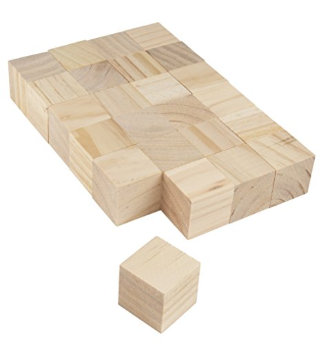 Wooden Cubes - 24-Pack Unfinished Wood Blocks for DIY Crafts, Puzzles, Kids Games, 1.5 x 1.5 x 1.5 Inches