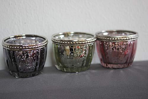 Unbekannt Inconnu Lot de 3 photophores en Verre et métal, 1 x Vert, 1 x Rose et 1 x Rose, 5 cm de Haut, 6 cm de diamètre