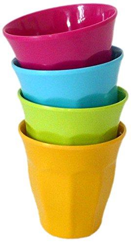 YOKO DESIGN 1034 Vasos de precipitados de melamina (Juego de 4) - 9 cm - Verde/Amarillo/Azul/Fucsia