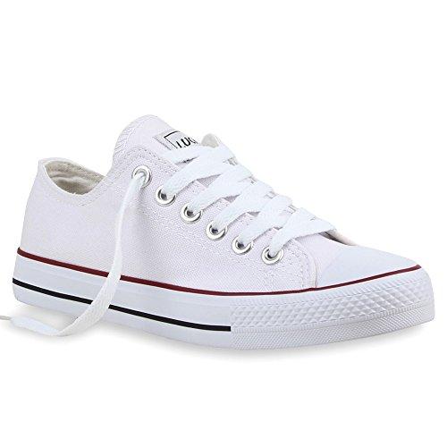 stiefelparadies Damen Schuhe Sneakers Sportschuhe Schnürer Schuhe 25997 Weiss Rotstreifen Ambler 36 Flandell