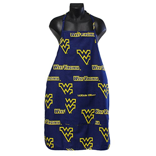 "College Covers West Virginia Mountaineers Tailgating or Grilling Apron with 9"" Pocket, Fully Adjustable Neck, One Size, Team Colors"