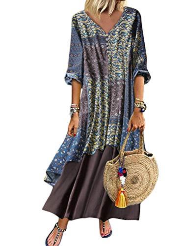 Onsoyours Sommerkleid Damen Elegant Boho Strandkleider Mode Bedruckter Patchwork Casual Lose Leinenkleid Retro Maxikleid Groß Hellblau 50