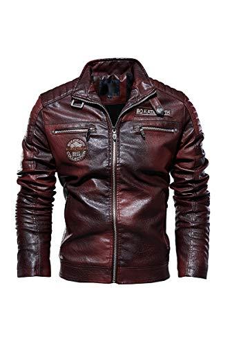 Nightborne Chaqueta de Cuero para Hombre, Aviador Chaqueta, Traje de Motocicleta, Chaqueta de Ocio Al Aire Libre Clásico Blousons (Rojo,3X-Large)