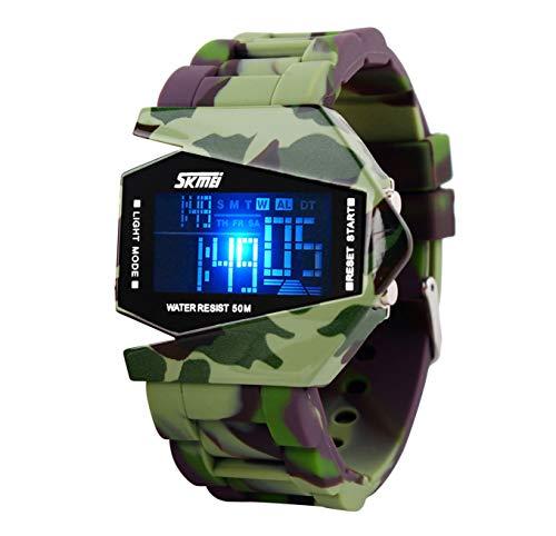 SKMEI impermeabile LED militare sport digitali orologio, mimetico verde militare per bambini