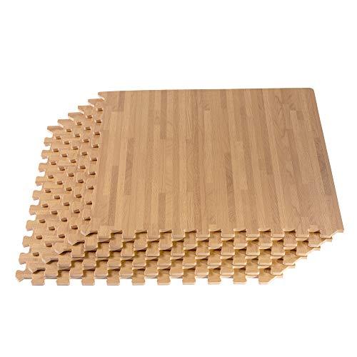 "Forest Floor 3/8"" Thick Printed Wood Grain Interlocking Foam Floor Mats, 200 Sq Ft (50 Tiles), White Oak"