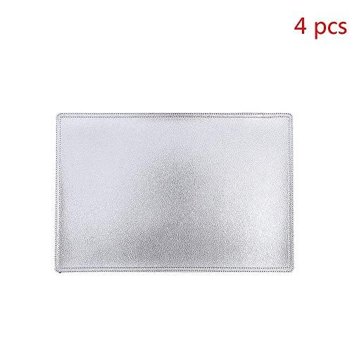 DUDDP Sets de table Napperons Ensemble de 4 rectangulaire écologique PU cuir résistant aux taches Art de la table étanche, adapté for la maison, cuisine, restaurant, 30x45cm (Color : Silver)