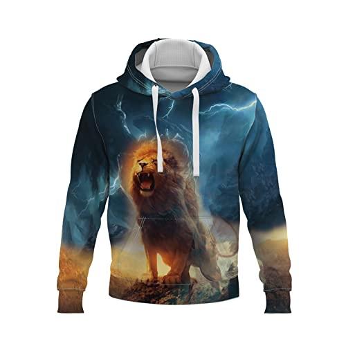 YDyun Herren Langarm Kapuzenshirt Mit Kapuze Männer Pullover in Vielen Farben Tigerkopf Persönlichkeit Tiermuster 3D