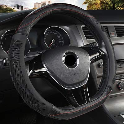 Auto-onderdelen Auto Steering Wheel Cover Four Seasons Leren stuur Hubs for V-W G-O-L-F 7 2015 POLO Jatta (Color : Black, Size : Free)