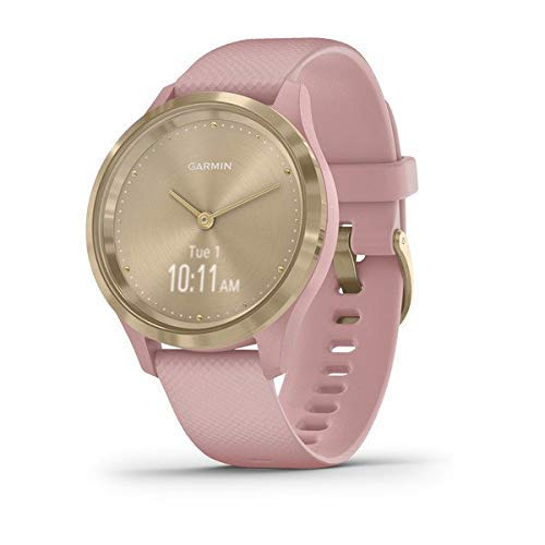 Garmin vivomove 3s, Smaller-sized Hybrid Smartwatch with Real Watch Hands and Hidden Touchscreen Display, Light Gold with Rose Case and Band (Renewed)