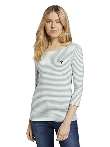 TOM TAILOR Damen 1024035 Stripe T-Shirt, 26035-White Green Small, XL