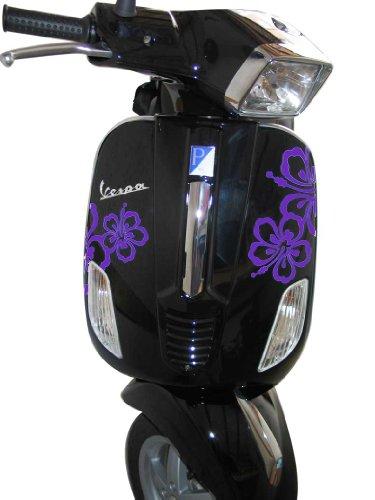 Grafix reclame en design stickers, stickers voor Vespa S Roller & Scooter Hibiscus lila