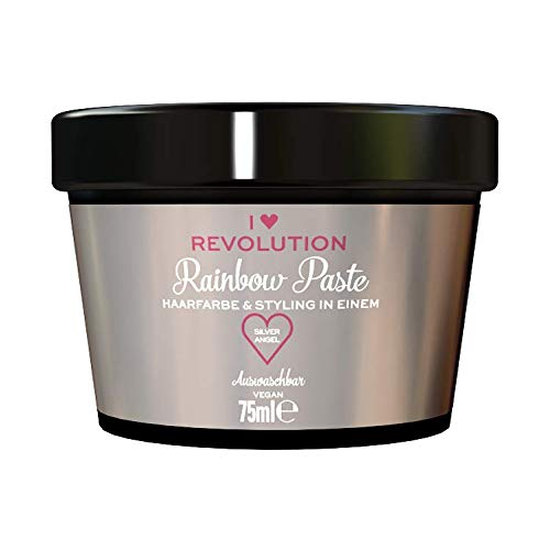 I Heart Revolution Rainbow Paste Silver Angel - die Kombination aus Haarfarbe und Haarstyling zum Auswaschen für einen Tag - vegan, mehrfach verwendbar, 75ml