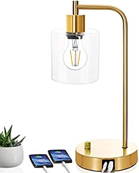 Gold Industrial Style Table Lamp with 2 USB Charging Ports