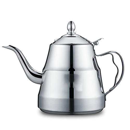 Cafetera de acero inoxidable 304 – Tipo tapa-mango anti-escaldadura – 10 tazas – tetera electromagnética para el hogar – 40 oz – plata