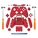 SN-RIGGOR Replacement Housing Full Shell Set Full Buttons Set Faceplates ABXY Buttons RB LB Bumpers for Xbox One S Slim Controller (3.5 mm Headphone Jack) S Controller Repair Parts (Red)