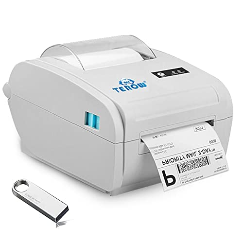 TEROW T9210 Impresora térmica de Etiquetas de Escritorio 4X6 USB Impresora de códigos de Barras de Recibos 110 mm 180 mm/s Impresora térmica de Alta Velocidad, Compatible con Windows/Mac