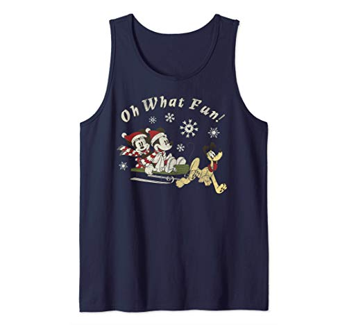 Disney Mickey Minnie And Pluto Oh What Fun Christmas Sled Tank Top