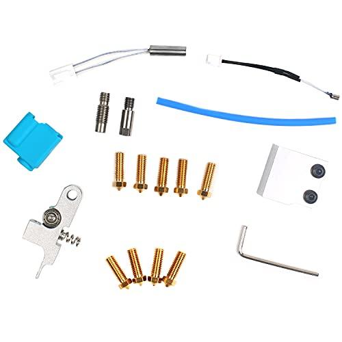 MaxAwe Kit de piezas de impresora 3D, accesorios adecuado para artillería impresora 3D Sidewinder X1 con boquilla de silicona, mango termistor, tubo calefactor y bloque de calefacción.