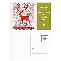 漫画の鹿の動物の赤い紙を切る 詩のポストカードセットサンクスカード郵送側20個