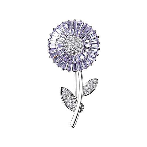 Brooch LF-Blumenapplikation mit Strasssteinen, glitzernd, für Pullover, Strickjacken, Zubehör, Dekoration (Farbe: Lila, Größe: 4 x 2 cm)