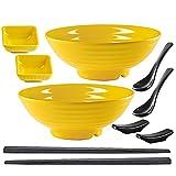 Unbreakable Ramen Bowl Set with Chopsticks and Spoon: 2 large Japanese Style Melamine Ramen Bowls,...