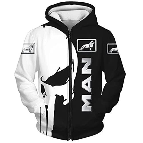 MAUXpIAO Hoodies,Chaquetas M.A.N-Trucks Punisher 3D Completo Impresión Delgado Hombre Y Mujer Casual Poliéster Sweatshirt Suelto / A1 / 2XL