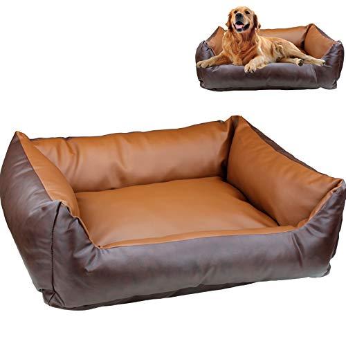 SCHOBERG Deluxe Hundebett 75 x 55 x 25cm Kunstleder Braun Hundekissen abwaschbar Hundesofa Hundekorb Schlafplatz