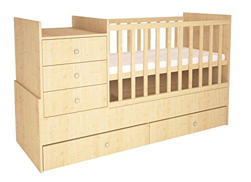 Polini Kids mitwachsende Kombi-Kinderbett Simple 1000 mit Kommode natur, 1226.30