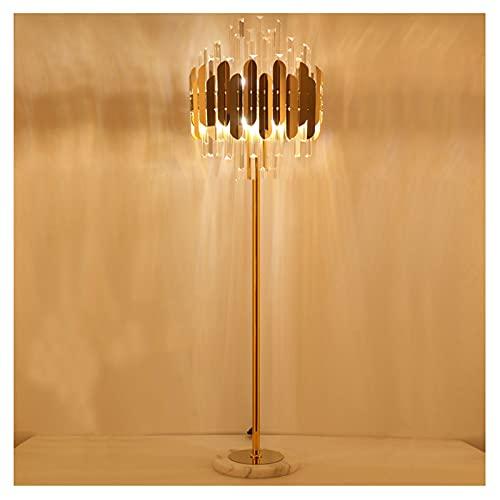 LJFLI - Lámpara de pie de cristal de graduación tricolor nórdico moderno para dormitorio, modelo de hotel de café de lujo, ligera, salón de té, dormitorio, B