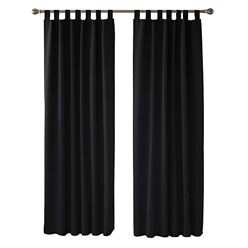 Deconovo Cortinas Opacas con Aislamiento Térmico para Sala de Estar Oficina Hotel Ventanas con Trabillas 2 Paneles 140 x 245 cm Negro