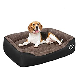 GoFirst Dog Beds Large Washable with Zipper Cover, Orthopedic Dog beds Basket for Medium and Large Dogs, Non-slip Bottom Pet Beds Couch Cushion