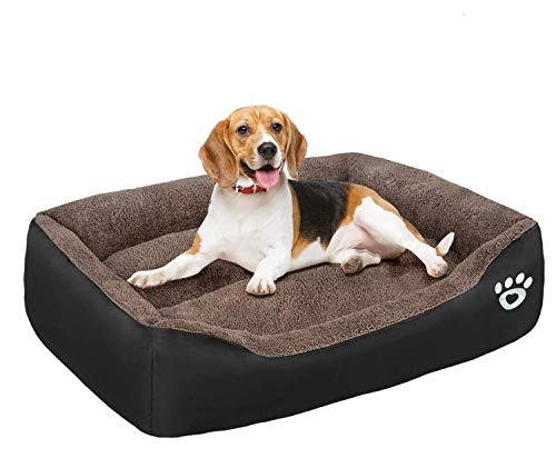 FAREYY Dog Beds Large Washable with Zipper Cover, Orthopedic Dog beds Basket for Medium and Large Dogs, Non-slip Bottom Pet Beds Couch Cushion