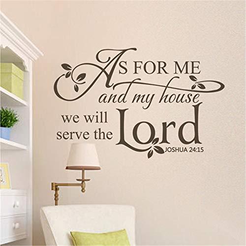pegatinas de pared Per quanto riguarda me e la mia casa, serviremo il Signore. Giosuè 24:15 Citazione biblica della Bibbia