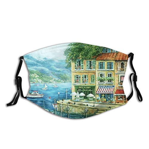 ZOMOY Face Cover Rope France Coastal Boats Seascape Mountains Cafe Florist Landscape Balaclava Unisex Reusable Windproof Mouth Bandanas Outdoor Camping Motorcycle Running Neck Gaiter with 2 Filters