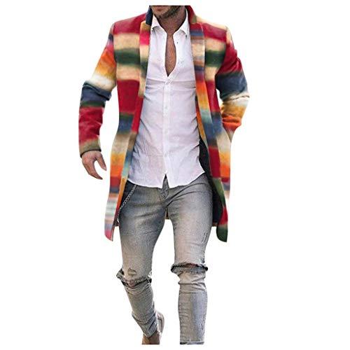 serliy😛Herren Wintermantel Lang,Siebenfarbiger Regenbogenplaid-dünner Langer einreihiger Wollmantel für Wintermode-Männer Business Überzieher Lange Windbreaker