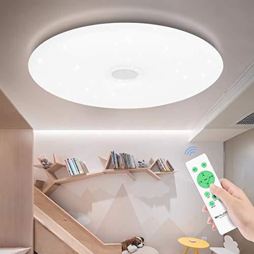 SHILOOK Led Deckenleuchte Dimmbar mit Fernbedienung, 24W 40cm Rund Deckenlampe Sternenhimmel Modern für Schlafzimmer/ Kinderzimmer/ Wohnzimme, Weiß