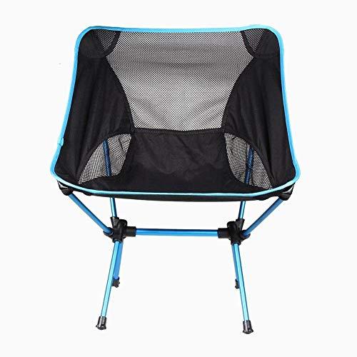 WWVAVA Silla de playa ligera plegable al aire libre portátil silla de camping para senderismo, pesca, picnic, barbacoa, vocación casual, sillas de jardín, azul, A