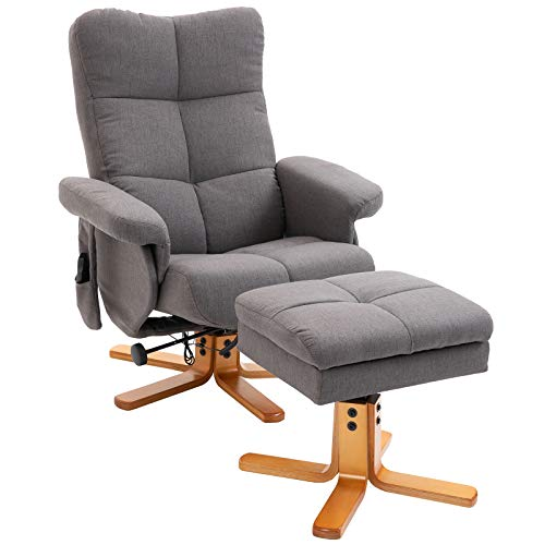 HOMCOM Massagesessel mit Fußhocker Relaxsessel Heizfunktion TV-Sessel Polyester Grau 145° Neigung 80 x 86 x 99 cm