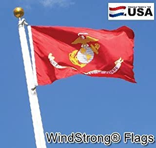 Windstrong® 3x5 FT USMC Marine Corps Best Quality SolarMax Nylon Flag Featuring 4 Rows of Stitching on the Fly End American Made+Premium Grade™ 100% Satisfaction Guaranteed