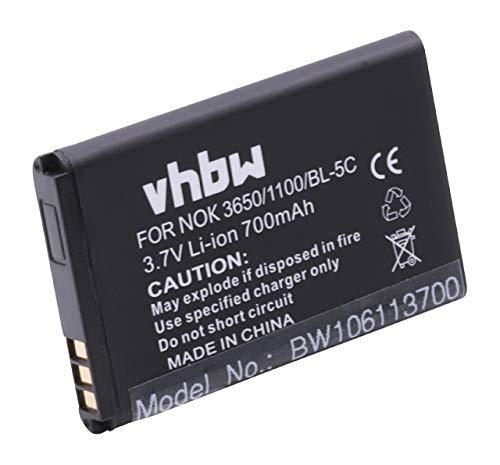 vhbw Akku passend für Handy Telefon Swisstone BBM 300, BBM 320,BBM 400,BBM 610, BBM 615, BBM 625 ersetzt BL-5C (700mAh, 3.7V, Li-Ion)