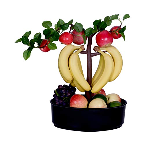 dynaGREEN Novelty Fruit Bowl Basket Banana Hook Hanger Bonsai Tree Combo Vibrant Colorful Unique Home Decor Centerpiece - Apple (Black)