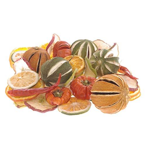 Deko Potpourri Früchte-Mischung - Mandarinen/Orangenscheiben/Limetten und Limetten Scheiben/Chilischoten/Apfelscheiben/Tomaten - Ø ca. 3-6 cm - 1 VE = 500 g Beutel - 24218